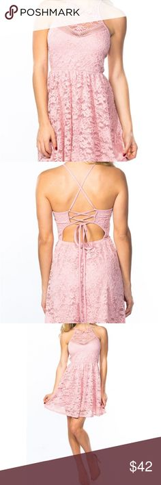 """LACE BLUSH PINK STRAPPY SKATER DRESS PRICE FIRM We are confident that our Lace Blush Pink Strappy Skater Dress will be one of you fave dresses! A classic fit-and-flare style silhouette moves with your body and is flattering for all body types!  -Floral Lace -Strappy back detail -Skater style fit-and-flare -Lined -90% Nylon, 10% Spandex -Made In: USA -Size Small: length 37"""" -Sizing Small 0-4, Medium 6-8, Large 10-12 -Model wearing a small (Model measurements: height 5'7"""", waist 25"""", bust 32D…"""