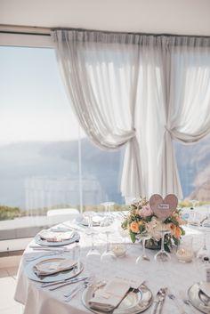 Wedding table setting. Santorini Weddings, Wedding venue, Wedding ceremony and reception, Sunset view.