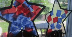 These 4th of July Tissue paper stars will look great hanging on the window for Independence Day. They're made from tissue paper and contact ...
