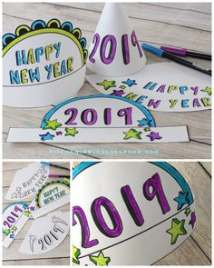 New Year's Eve Party Hats-Easy New Year's crafts for kids - The Kitchen Table Classroom New Years With Kids, New Years Hat, Kids New Years Eve, New Years Eve Party, New Year's Crafts, Crafts For Kids To Make, Kids Crafts, Clay Crafts, New Year's Eve Hats