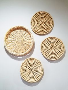 Wall Baskets Decor set of woven wicker wall baskets - hanging nesting baskets