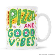 Positive Vibes Only Kawaii Pizza Mug Katy Perry I Love Pizza