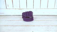 Vintage wide purple suede leather statement belt/large buckle belt/medium by…