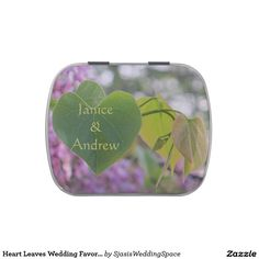 Heart Leaves Wedding Favor Candy Tin