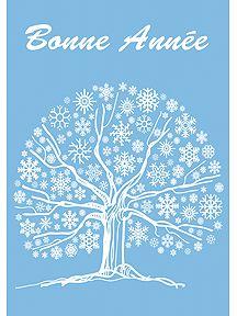 Une carte de Nouvel An avec un bel arbre à flocons, à imprimer.