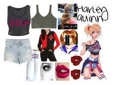 """""""Harley Quinn"""" by blackest-raven ❤ liked on Polyvore featuring H&M, Charlotte Tilbury, Spree Picky, women's clothing, women's fashion, women, female, woman, misses and juniors"""
