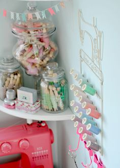 I love this spool rack! Maybe use in a little girl's room to display jewelry, hair accessories, etc.