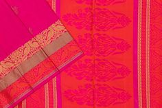 Bright pink soft silk with pink and orange paloo. Pink Soft, Bright Pink, Orange Blouse, Soft Silk Sarees, Silk Thread, Saree Blouse, Pure Products, Texture, Fabric