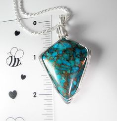 Kingman Turquoise Pendant Turquoise by MysticalMoonDesigns on Etsy