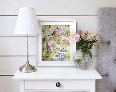 Song Sparrow in Spring Apple Blossoms Monet Quote Original Watercolor Painting