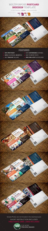 Postcard InDesign Template - Cards & Invites Print Templates