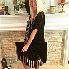 Light fringe black duster-must have- 2 LEFT!! A diamond pattern oversize throw over sweater cardigan featuring fringe on bottom. High-low style. Knit. Lightweight. Jackets & Coats Capes
