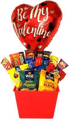 snack basket valentines day gift for him. Valentine Gift Baskets, Valentines For Boys, Valentines Day Gifts For Him, Valentines Day Ideas For Him Boyfriends, Valentine Photos, Valentine Ideas, Valentine's Day Gift Baskets, Gifts For Teens, Boyfriend Gifts