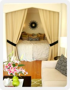Cozy bed nook perfect for a studio apartment Dream Bedroom, Home Bedroom, Bedroom Decor, Bedroom Nook, Extra Bedroom, Bedroom Office, Master Bedroom, Girls Bedroom, Bedroom Sanctuary