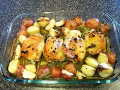 Lemon Garlic Chicken with Red Potatoes and Green Beans - One dish meal!