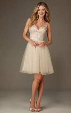 image of Modest Champagne Short Bridesmaid Dress BNNCL0009