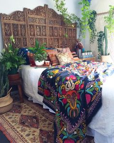 stunning Duchess velvet vintage hand embroidered Suzani on the bed. Our beautiful vintage silk Belgian runner on the floor. Vintage kilim pillows for daysssss & all the you can handle! Can you spot my huge vintage leather camel? Bohemian Bedrooms, Bohemian Bathroom, Bohemian Headboard, Trendy Bedroom, Boho Curtains, Funky Bedroom, Roman Curtains, Bedroom Brown, Patterned Curtains