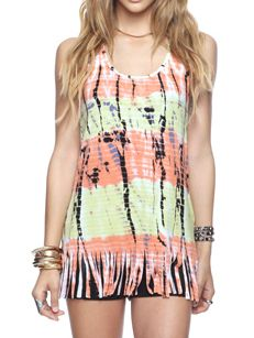 Colorful Fringe Tank Top