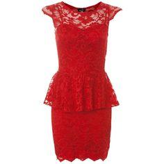 John Zack Red Lace Peplum Dress ($28) ❤ liked on Polyvore