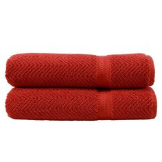 Linum Home Textiles Terra Cotta Herringbone Weave Bath Towels - Set of 2 - HN-HB75-2BT