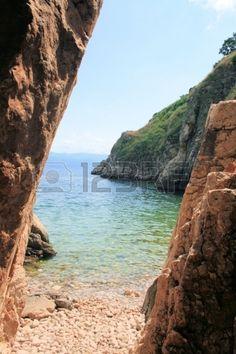 enterance to small beach in Vrbnik, island Krk, Croatia