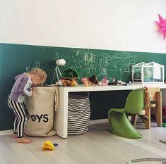 green chalkboard border in kids room - two tone walls Deco Kids, Kids Bedroom, Kids Rooms, Master Bedroom, Kids Corner, Kid Spaces, Kids Decor, Girl Room, Room Inspiration