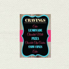 Cravings Printable Sign for Rifles or Ruffles Tutus or Ties Gender Reveal Party/Baby Shower  Check out this item in my Etsy shop https://www.etsy.com/listing/264546214/cravings-printable-sign-for-rifles-or