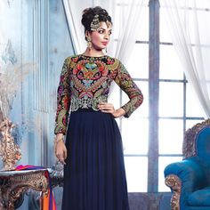 #Blue Faux Georgette #Anarkali Churidar Kameez