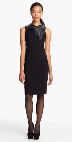 Professionelle: Leather Trim Ponte Knit Dress