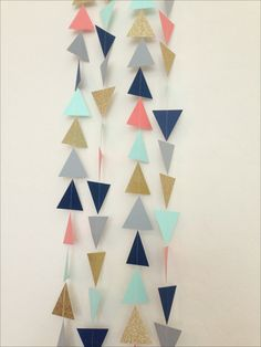 Navy, Mint, Grey, Coral, Gold Geometric Triangles Garland - Baby Shower Garland, Birthday Garland, Party Decor,Nursery Garland,Bridal Shower
