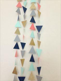 Navy, Mint, Grey, Coral, Gold Geometric Triangles Garland - Baby Shower Garland, Birthday Garland, Party Decor,Nursery Garland,Bridal Shower...