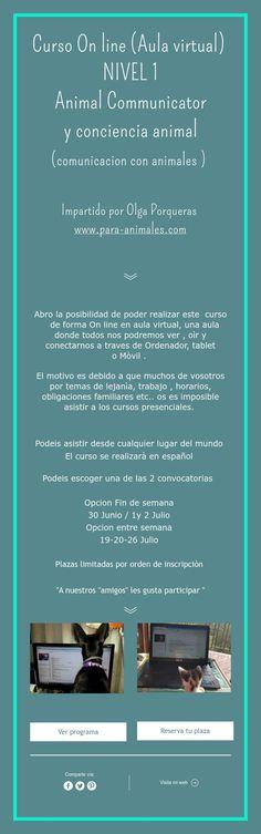 Curso On line (Aula virtual)  NIVEL 1  Animal Communicator  y conciencia animal  (comunicacion con animales )    Impartido por Olga Porqueras  www.para-animales.com
