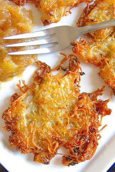 Oven-fried, crunchy-smooth potato pancakes, a real time-saver. Commenters suggest peeling the potatoes and adding pepper, using foil in the pan, etc. Potato Dishes, Potato Recipes, Vegetable Recipes, Potato Latkes, Vegetarian Bake, King Arthur Flour, Jewish Recipes, Fries In The Oven, Holiday Recipes