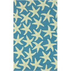 Bring a touch of whimsy to your patio, foyer, or three-season porch with this hand-hooked wool rug, showcasing a coastal starfish motif.    Product: RugConstruction Material: 100% PolypropyleneColor: Blue and creamFeatures:  Hand-hookedSuitable for indoor or outdoor use Note: Please be aware that actual colors may vary from those shown on your screen. Accent rugs may also not show the entire pattern that the corresponding area rugs have.
