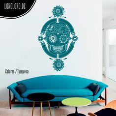 #Vinilo de una #calaveramexicana con marco / #Mexicanskull #wallsticker with frame