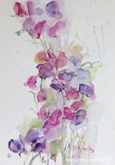 Pin by Loes Alsemgeest on Vintage images Flowers and Fruit Easy Watercolor, Watercolor Cards, Watercolor Print, Watercolour Painting, Watercolor Flowers, Painting & Drawing, Watercolours, Flower Art, Art Drawings