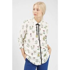 Topshop Botanical Print Shirt ($70) ❤ liked on Polyvore