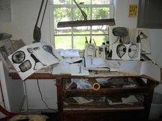 Mira-Schor-Studio-table-July-13,-2009