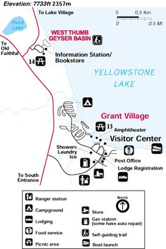 Yellowstone West Thumb and Grant Village Area Map of Yellowstone National Park - NPS Image National Park Tours, National Parks Map, Grand Teton National Park, Yellowstone National Park, Pacific Grove California, California Beach Camping, Wyoming Vacation, Vacation Trips, Vacations