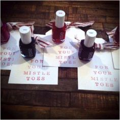 "Cute Christmas gift for stocking stuffers, Secret Santa, etc- nail polish ""For your mistleTOES"".secret santa next year! Primitive Christmas, Noel Christmas, Winter Christmas, All Things Christmas, Christmas Presents, Cheap Christmas, Polish Christmas, Xmas Gifts, Christmas Favors"