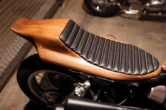Hand formed wooden motorcycle seat. The Handbuilt Show in Austin, TX.