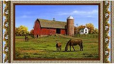 Hautman Countryside Panel by VIP/Cranston Village Horses grazing in the grassy fields on the farm near the old red barn. Part of