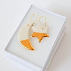 Your place to buy and sell all things handmade Moon And Star Earrings, Moon Earrings, Gold Drop Earrings, Perfect Gift For Her, Gifts For Her, White Clay, Earthenware, Making Out, Goodies