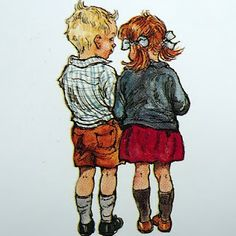 (After Bad Harry got his hair cut) Shirley Hughes illustration from My Naughty Little Sister stories by Dorothy Edwards