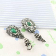 Mixed Style 5Pcs Natural Malaysian Jade Pendant Beads Pave Crystal Rhinestone Gem stone Charm Dangle  Pendants Making Jewelry