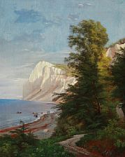 Carl Frederic Aagaard (1833-1895): Summer day at Møns Klint, Denmark