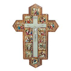 Catholic Church Crucifix Wall Hanging MDF Jesus Christ 14 Stations of The Cross | eBay