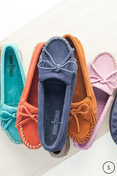 How cute are these kilty suede Minnetonka moccasins from SHOES.COM? We'll take one of each.