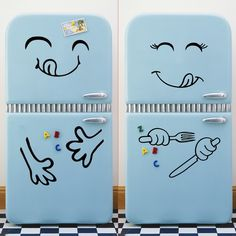 Cute Fridge Sticker Decoration Stickers Home Decors Vinyl Stickers For Kitchen Fridge Wall Wall Stickers Happy Delicious Face Fridge Stickers, Face Stickers, Kitchen Wall Stickers, Kids Stickers, Decoration Stickers, Wall Stickers Home Decor, Vinyl Wall Stickers, Ali Express, Self Adhesive Wallpaper