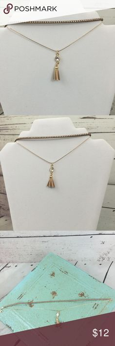 """Tan Suede Choker with Gold Chain/Tassel Tan suede, gold studded double choker with gold  chain. Beautiful teardrop gem and leatherette tassel accent. Size: 12"""" with 4"""" extension Jewelry Necklaces"""